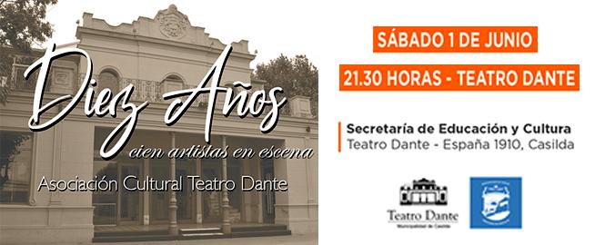 Mañana se celebra 10º aniversario de la creación de la Asociación Cultural Teatro Dante