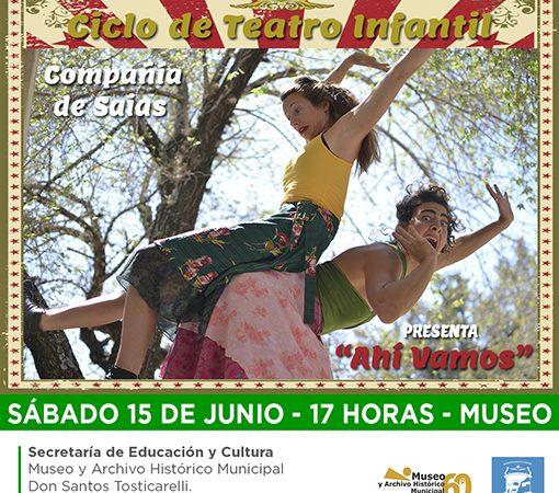 """""""Ahí vamos"""" al ciclo de Teatro Infantil del Museo para este sábado 15 desde las 17 hs."""